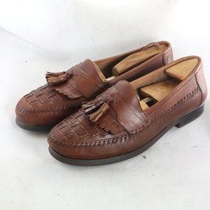 GIORGIO BRUTINI Woven Moc Toe Tassel Kilt Loafers